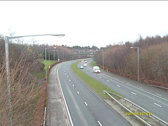 A55 road (Northern Ireland) - The A55 near Ballymaghan and Belmont in east Belfast. (View southwestwards.)