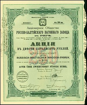 Russo-Balt - Share of the Russisch-Baltischen Waggon-Fabrik, issued 1906