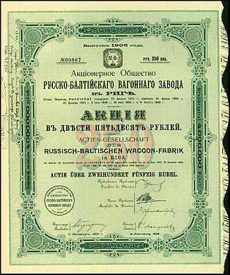 Russo-Balt - Share of the Russisch-Baltischen Waggon-Fabrik, issued 1906