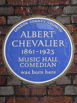 Albert chevalier 1861 1923 music hall comedian was born here