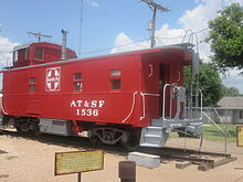 "Caboose with ""AT&SF 1536"" on side"