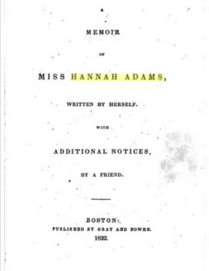 Hannah Adams - Image: A Memoir of Miss Hannah Adams (1832)