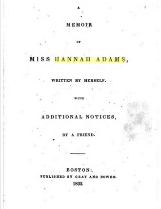 Hannah Adams - Image: A Memoir of Miss Hannah Adams (1832)