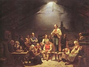 Pietism - Haugean Pietist Conventicle. Painting by Adolph Tidemand, 1852