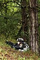 A U.S. Soldier with Attack Company, 1st Battalion, 503rd Infantry Regiment, 173rd Airborne Brigade Combat Team provides security Aug. 27, 2014, during Saber Junction 2014 at the Joint Multinational Readiness 140827-A-TA386-005.jpg