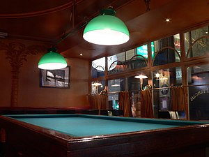 A billiard table in a Parisian café