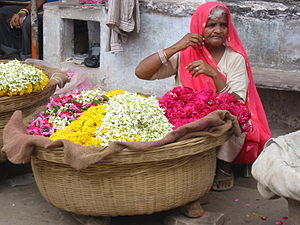 Flower seller - A flower seller in Pushkar, India