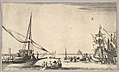 A galley arriving at port to left, several rowboats in center, ships at port to right, from 'Set of eight nautical landscapes' (Suite de huit Marines) MET DP829693.jpg