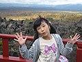 A girl sets a pose in Mount Asama, Gunma, Japan; October 2011.jpg