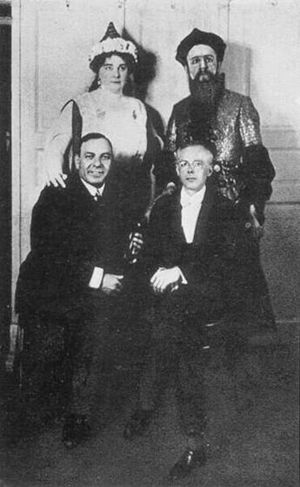 Bluebeard's Castle - Olga Haselbeck, Oszkár Kálmán (Bluebeard), Dezső Zádor and Béla Bartók after the premiere in 1918