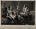 A seated Greek woman on an obstetrical stool being held in p Wellcome V0014911.jpg