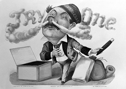 A smoker with huge head exhales cigar smoke which forms the Wellcome L0011076