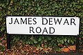 A street sign in the Kings Buildings complex in Edinburgh in memory of James Dewar.jpg