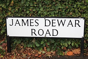 James Dewar - A street sign in the Kings Buildings complex in Edinburgh in memory of James Dewar