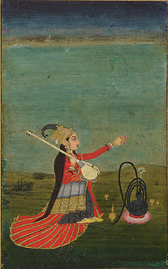 A woman holding a Veena, Mughal, India. 18 century