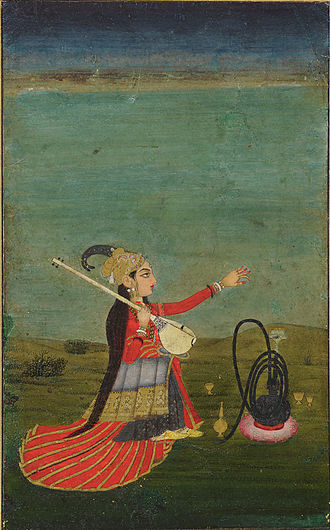 Indian art - Female performer with a tanpura, post-Mughal, 18th century. Colour and gold on paper.