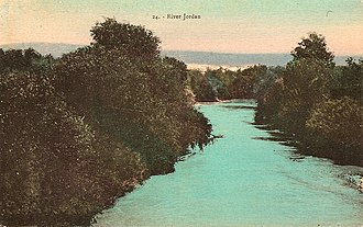 Jordan River - Coloured postcard of the Jordan River, by Karimeh Abbud, circa 1925