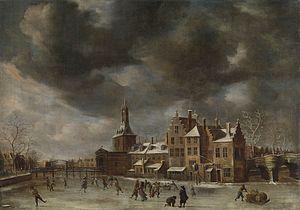 Abraham Beerstraaten - The Blauwpoort in Leiden in the winter, ca. 1660