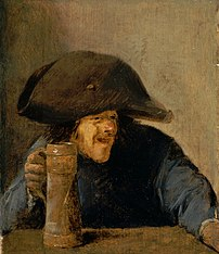 Man with bicorne and wooden mug