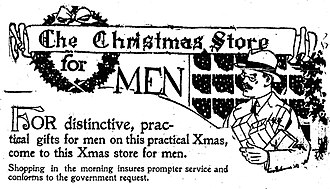 Shopping - Advertising image of a man shopping for Christmas presents, United States, 1918