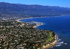 Aerial Photo Of Santa Barbara Showing Its Position Between The Ocean And Mountains