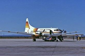 Aero California - An Aero California Convair CV-340 at Manuel Márquez de León International Airport in 1981.