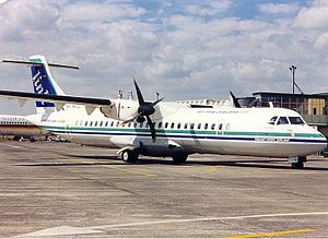 Hamilton Airport (New Zealand) - A Mount Cook ATR 72-200 in the old Air New Zealand Link colours at Hamilton Airport in 1997