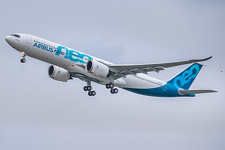 First flight of A330-900neo on 19 October 2017 Airbus A330neo first take-off (cropped).jpg