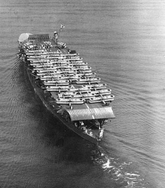 Japanese aircraft carrier Akagi - A stern view of Akagi off Osaka on 15 October 1934.  On deck are Mitsubishi B1M and B2M bombers