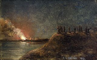 Fire watchers on the shore