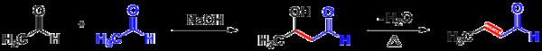 Exemplo de condensação aldólica, com acetaldeído