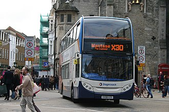 Stagecoach in Oxfordshire - Stagecoach branded Alexander Dennis Enviro 400 bodied Scania N230UD in Oxford City Centre on former route X30 (now S9) to Wantage.