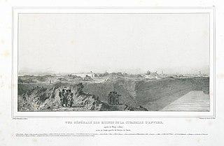 Algemeen zicht op de ruïnes van de citadel van Antwerpen, na het beleg van 1832