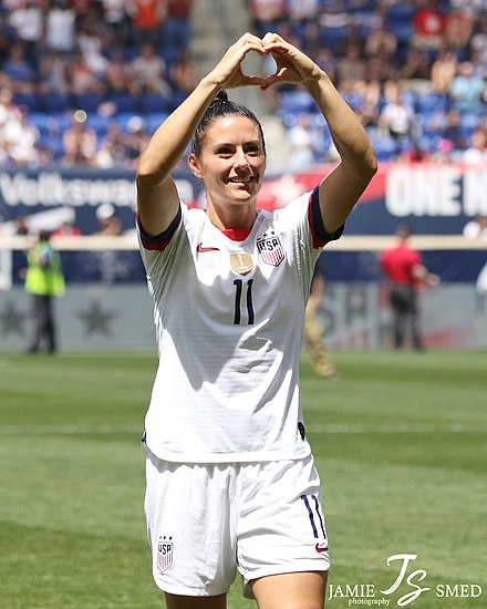 Right back Ali Krieger has played over one hundred games for the United States and is a 2015 and 2019 women's World Cup chamipion Ali Krieger (47957616952).jpg