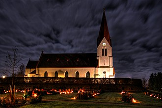 All Souls' Day - A graveyard outside a Lutheran church in the Swedish city of Röke during Allhallowtide