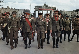 Red Army - Marshals Zhukov and Rokossovsky with General Sokolovsky leave the Brandenburg Gate after being decorated by Montgomery