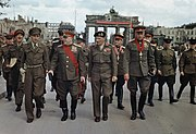 British Officers wearing Battle Dress meet their Russian Conterparts in 1945