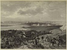 A black and white depiction of the Siege of Charleston from the British perspective