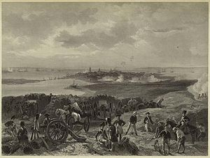 James Hogun - A black and white print of Alonzo Chappel's Siege of Charleston, depicting the engagement from the British perspective.  Hogun's position would have been on the left of the Patriot lines from this vantage point.
