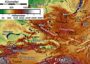 Altishahr - Physical map showing the separation of Dzungaria and the Tarim Basin (Taklamakan) by the Tien Shan Mountains