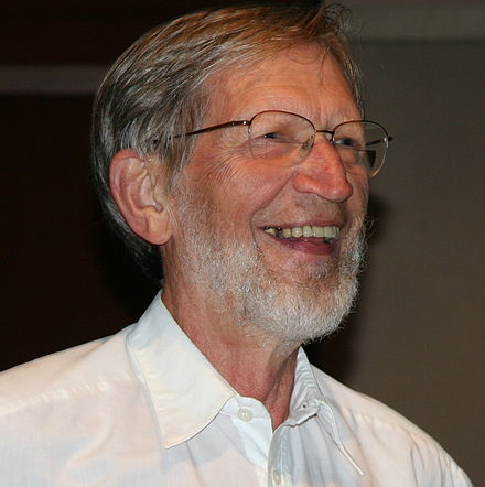 Plantinga giving a lecture on science and religion in 2009