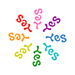 Ambigram Say Yes radial pattern rainbow color logo.png