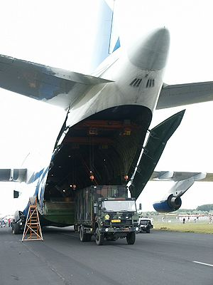 Airlift - Antonov An-124 Ruslan loading a container for the Dutch military