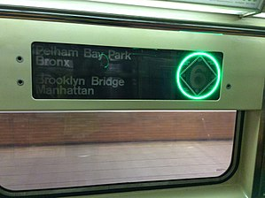 R62A (New York City Subway car) - Image: An R62A rollsign with LED green circle