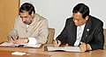 Anand Sharma and the Commerce Minister of Myanmar, Mr. U Win Myint, signing the agreed minutes of the 4th meeting of India-Myanmar joint Trade Commission, in New Delhi on September 27, 2011.jpg