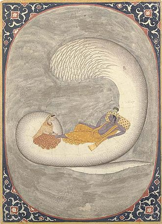 "Serpent (symbolism) - Vishnu resting on Ananta-Shesha, with Lakshmi massaging his ""lotus feet"""