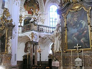 Johann Baptist Straub - View into the choir, showing altars and figures by Straub, Andechs Abbey.
