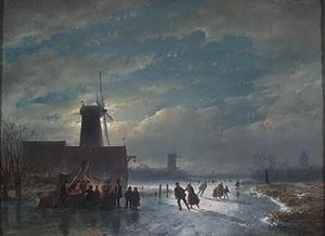 Andreas Schelfhout - Winter Landscape with 'koek en zopie' at night, 1849