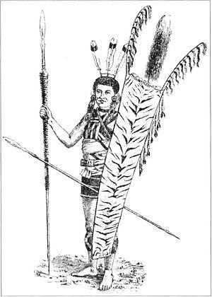 Nagaland - A sketch of Angami Naga tribesman from 1875.