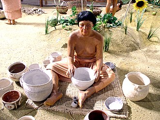 Mississippian culture pottery - A diorama of a Mississippian culture potter from the Angel Mounds site museum